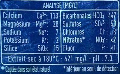 Cristaline Eau de source - Información nutricional - fr