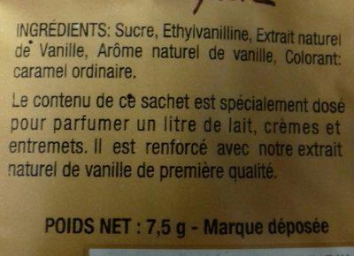 Sucre vanilliné renforcé à la vanille - Ingrédients
