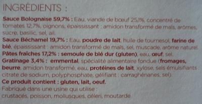 Lasagnes à la Bolognaise - Ingrédients - fr