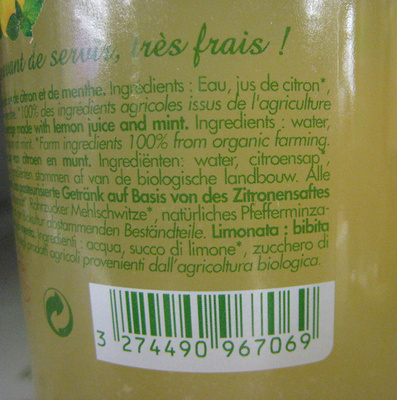 Véritable citronnade Bio - Ingredients - fr