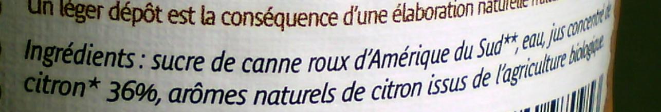 Sirop Citron - Ingrediënten - fr