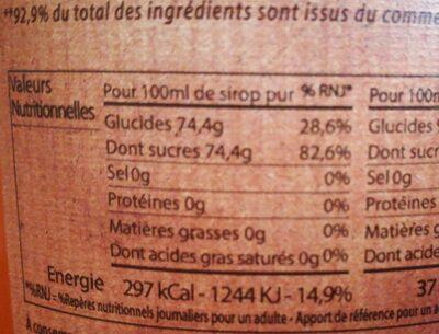 Sirop Citron - Voedingswaarden - fr