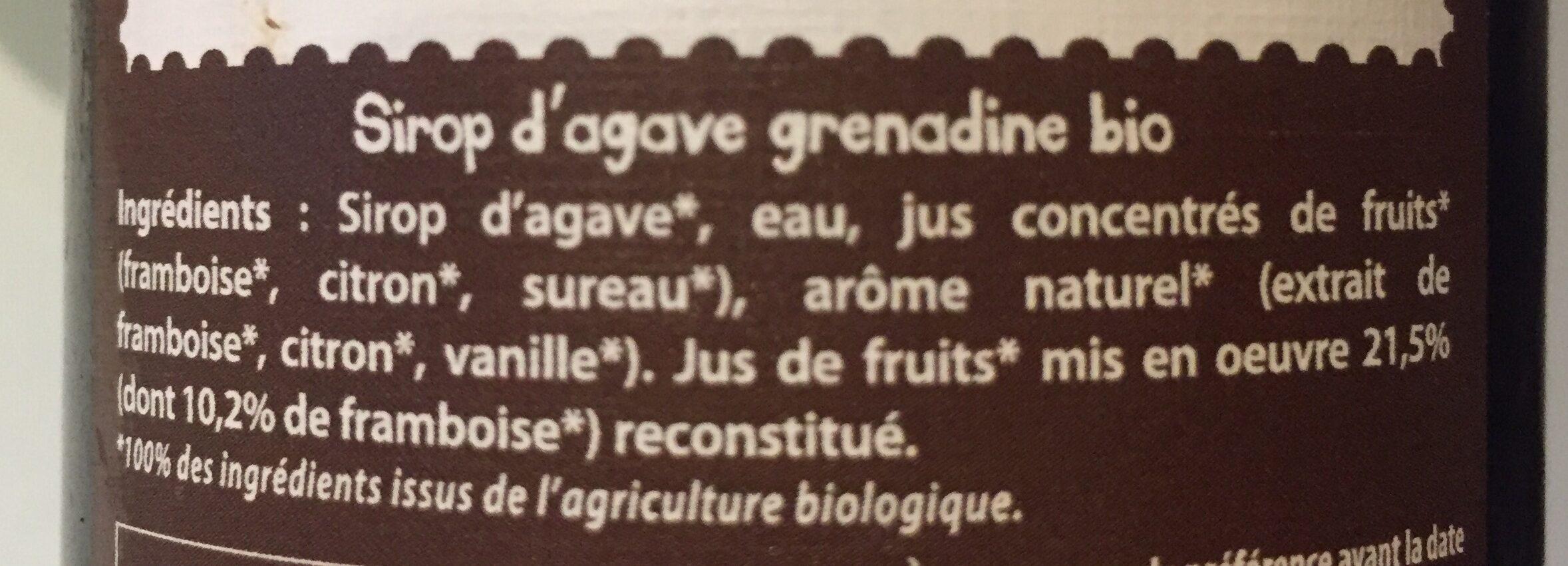50CL Sirop D'agave Grenadine - Ingrédients - fr