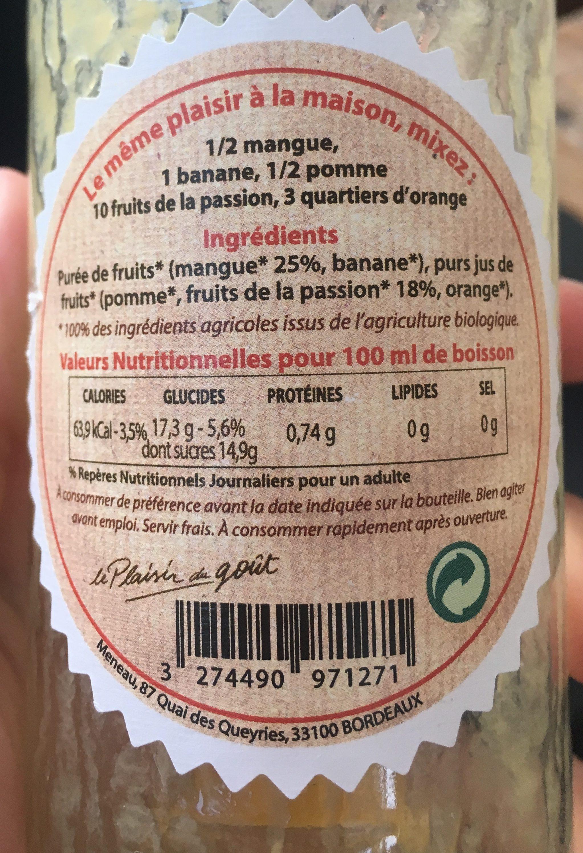 Smoothie bio mangue passion - Ingredienti - fr