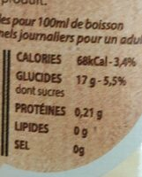 Pur Jus de Raisin Blanc Bio - Valori nutrizionali - fr