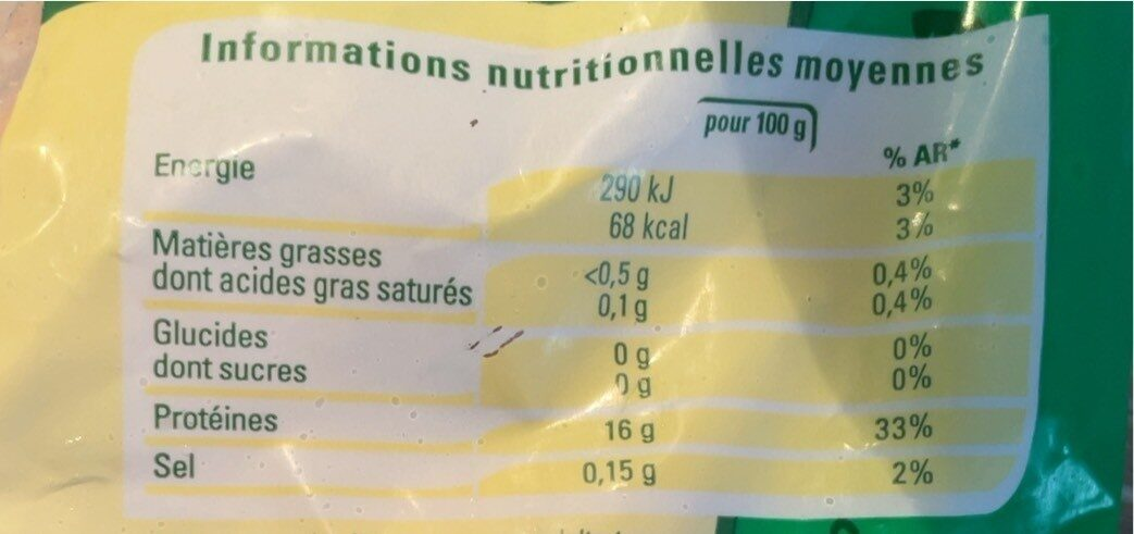 Cuisses de grenouille congelées - Informations nutritionnelles - fr