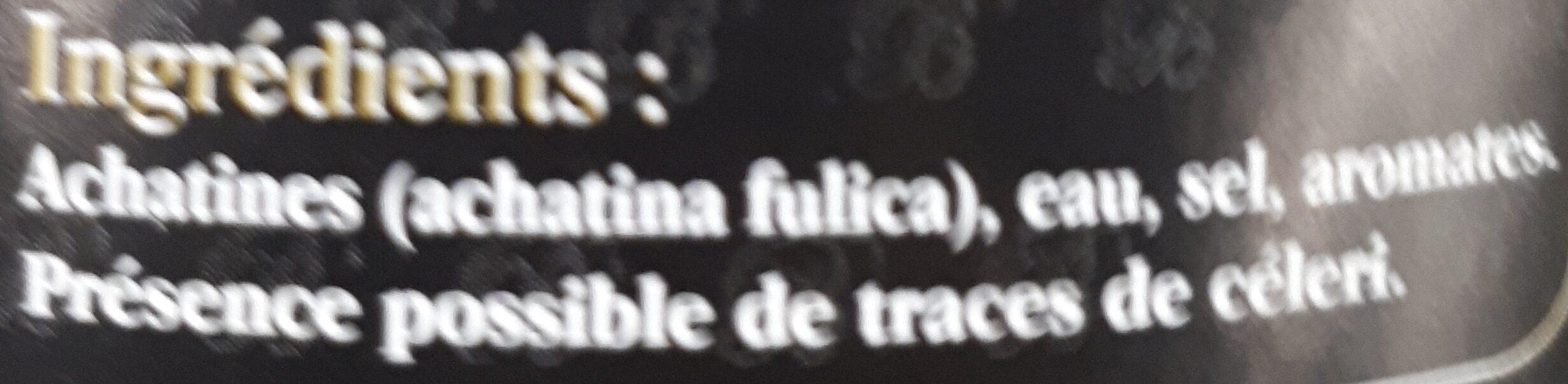 Achatines - Ingrédients - fr