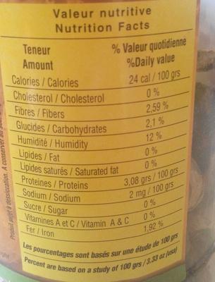 Cèpes extra - Informations nutritionnelles - fr
