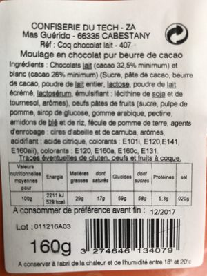 Moulage coq en chocolat au lait décoré - Ingrédients - fr