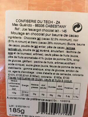 Chocolat au lait+oeufs et pate de fruit - Inhaltsstoffe - fr