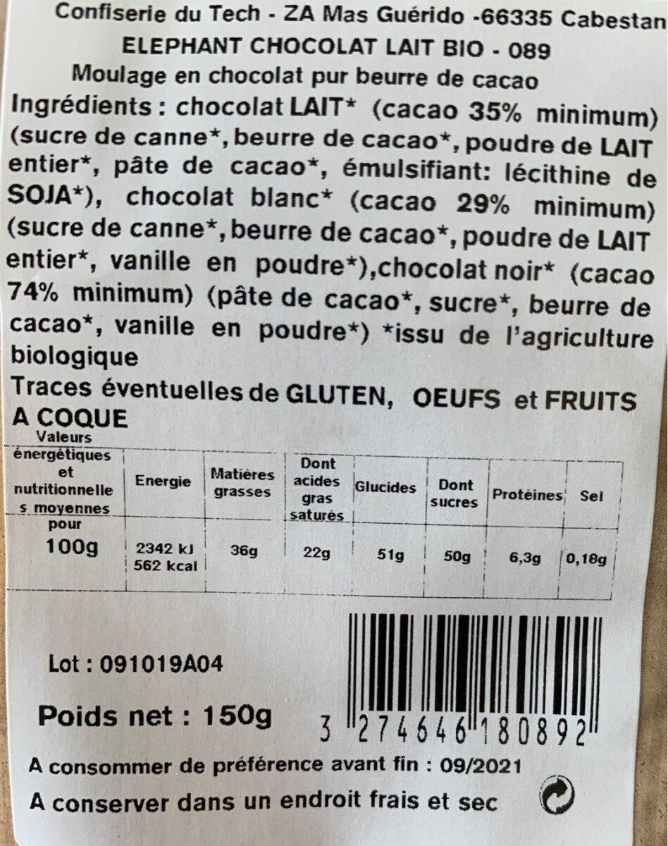 Tech éléphant choco - Valori nutrizionali - fr
