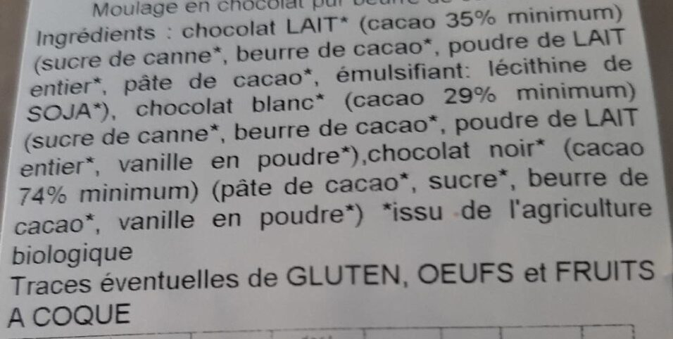Chocolat Bio - Ingrédients - fr