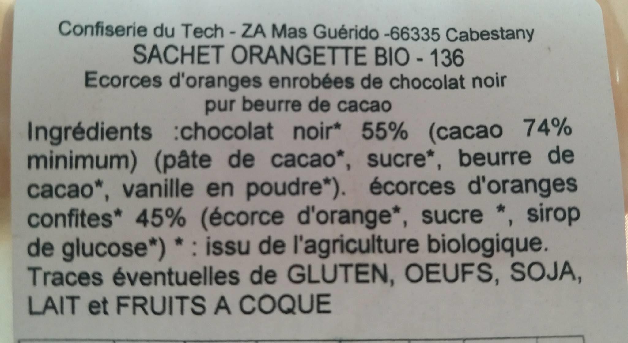Orangettes au chocolat bio - Ingredienti - fr