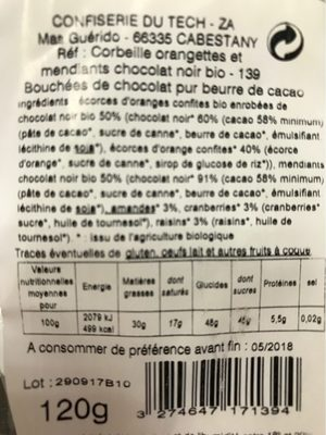 Mes delicieux chocolats bio - Nutrition facts