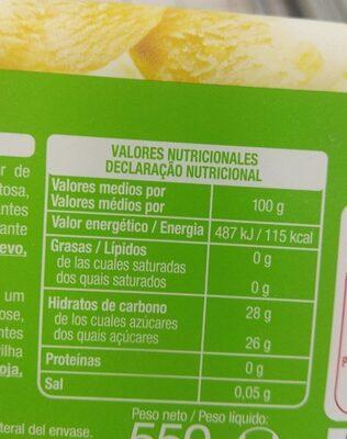 Sorbeye de limon - Nutrition facts - es