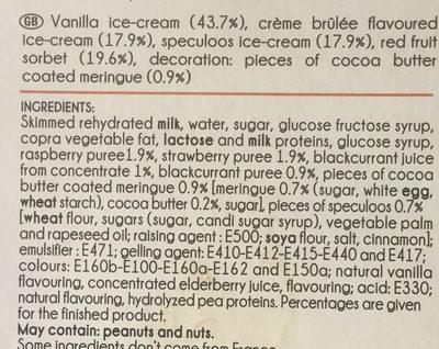 Mini Délices Vanille-saveur crème brûlée, Vanille-fruits rouges, Spéculoos-vanille - Ingredients