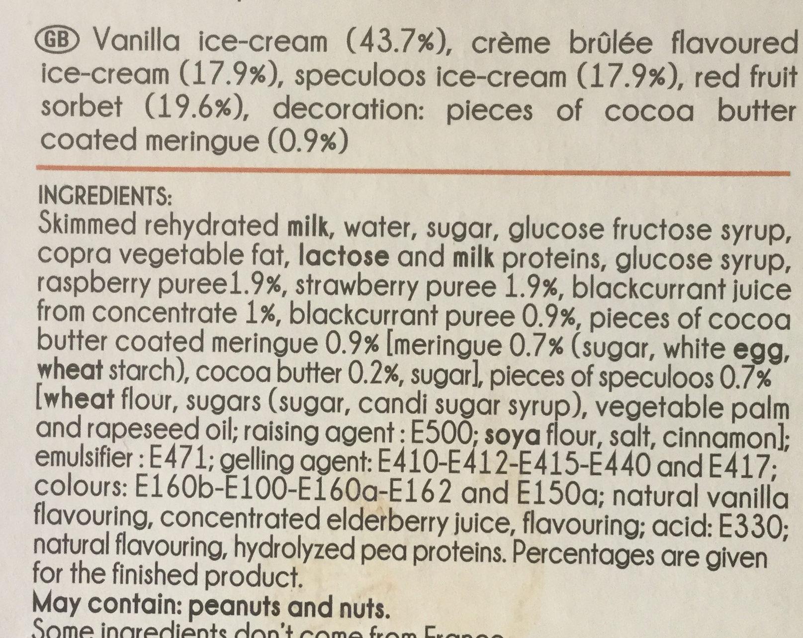 Mini Délices Vanille-saveur crème brûlée, Vanille-fruits rouges, Spéculoos-vanille - Ingredients - en
