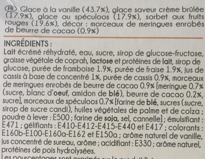 Mini Délices Vanille-saveur crème brûlée, Vanille-fruits rouges, Spéculoos-vanille - Ingrédients - fr