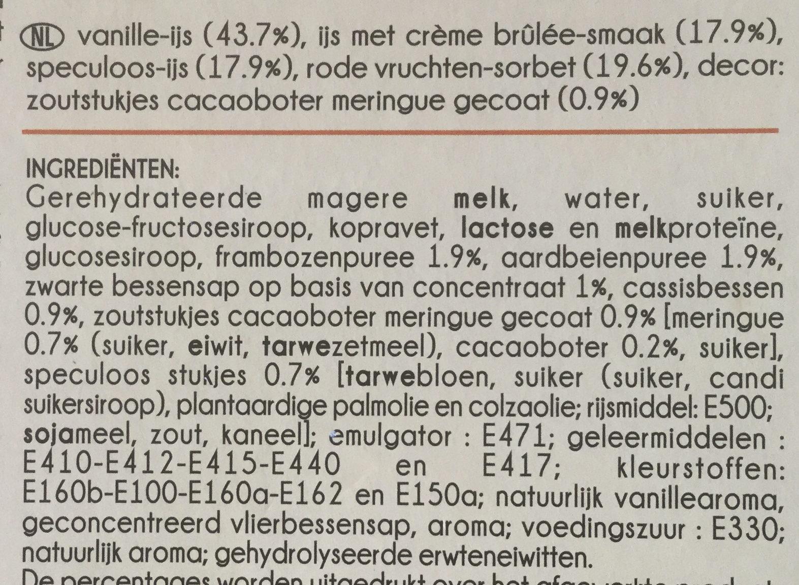 Mini Délices Vanille-saveur crème brûlée, Vanille-fruits rouges, Spéculoos-vanille - Ingrediënten - nl