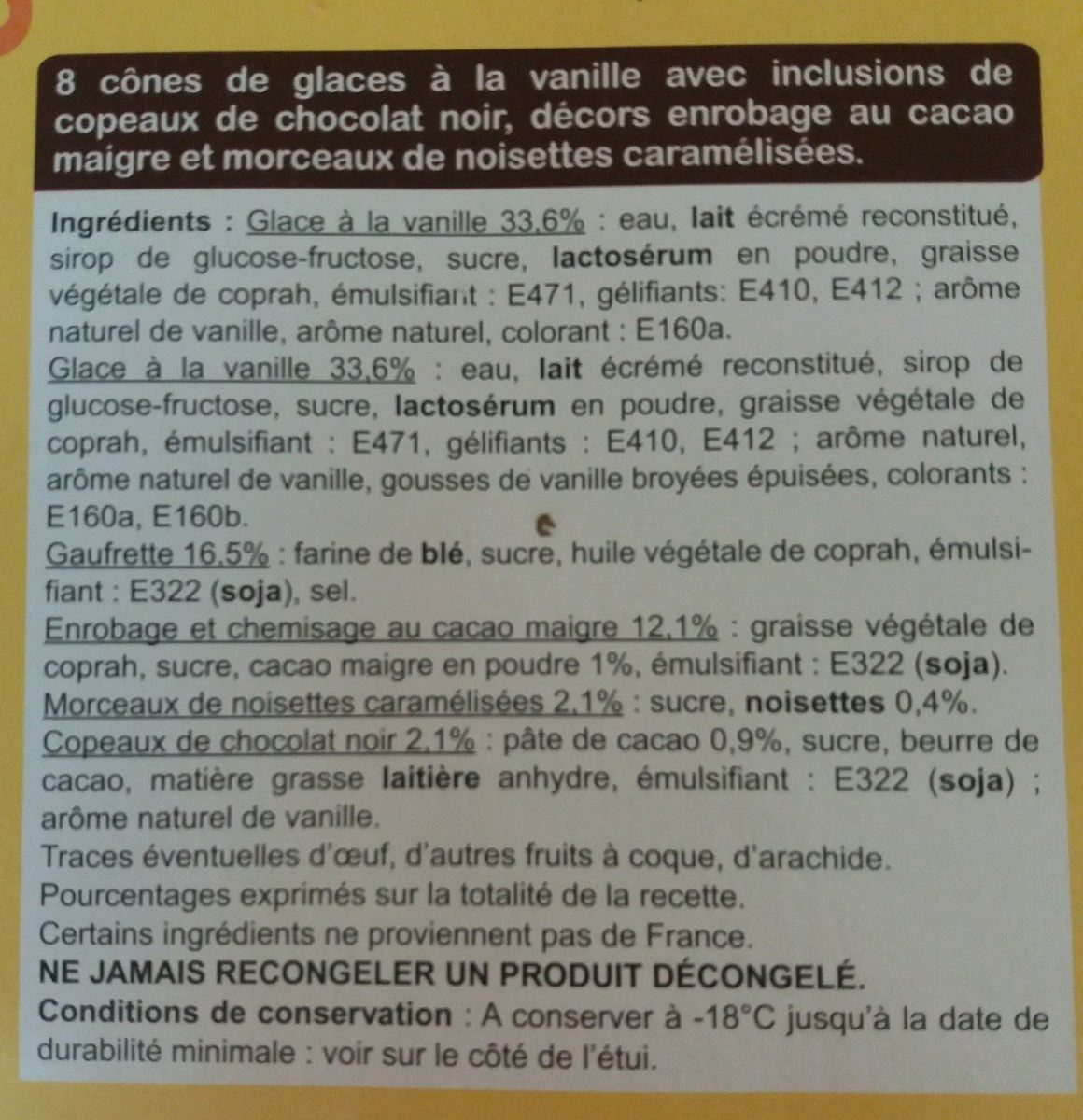 8 cônes vanille - Ingrediënten
