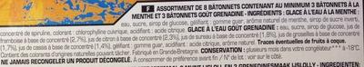 Bâtonnets goût Menthe - goût Grenadine - Ingrédients - fr