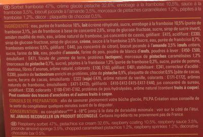 Bûche Framboise Pistache - Ingredients