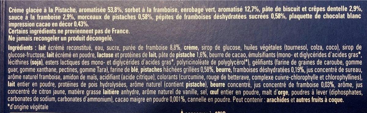 Buche Pistache Framboise - éclats de pistache - - Ingredients