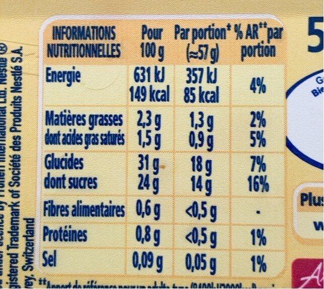 Vacherin fruits rouges - Informations nutritionnelles - fr