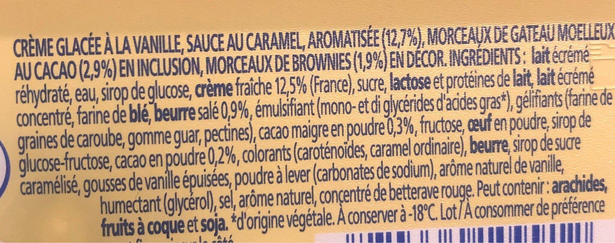 Crème glace vanille moelleux, sauce caramel - Ingrédients