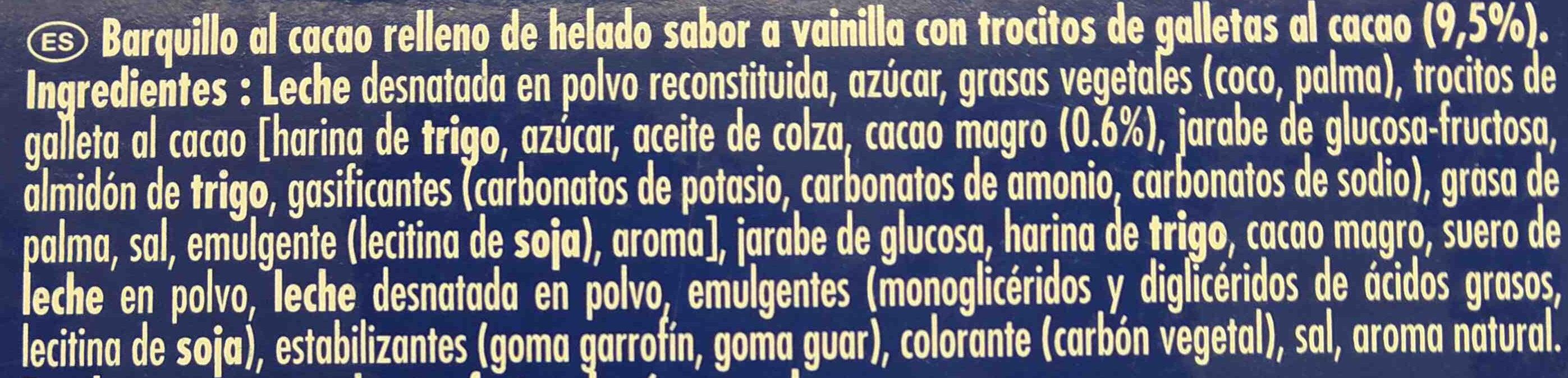 Cono helado - Ingredientes - es