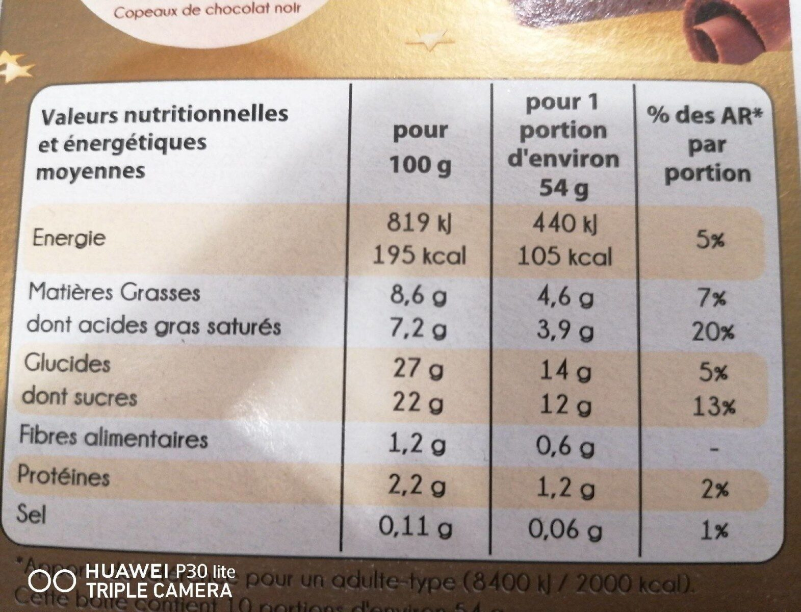 Stracciatela - Nutrition facts - fr