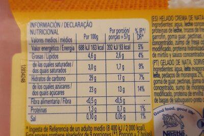 Helado fresas con nata - Información nutricional - es