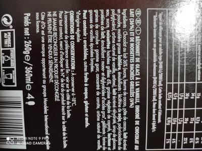 Glace vanille chocolat & noisettes - Ingredienti - fr