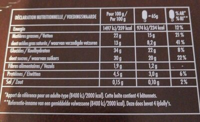 Glace vanille chocolat & noisettes - Valori nutrizionali - fr