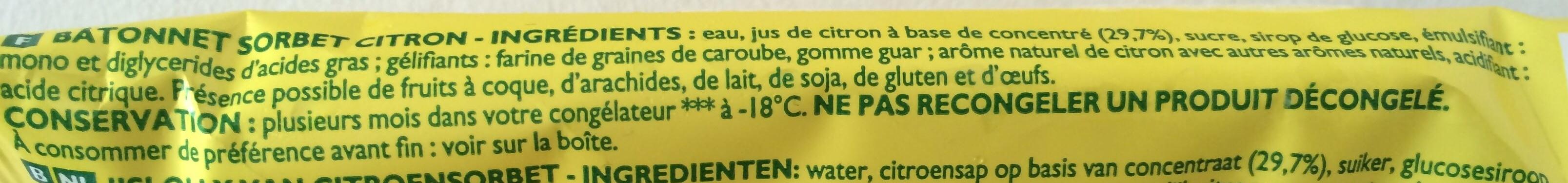 Pulco Citronnade sorbet - Ingredients