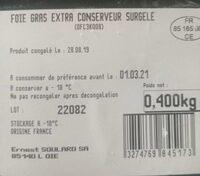 Foie gras - Nutrition facts - fr