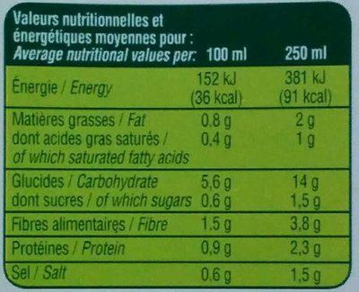 Velouté de Légumes Variés - Voedingswaarden - fr