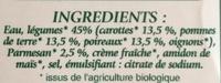 Velouté de legumes au parmesan Bio - Ingrédients - fr