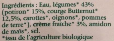 Duo de Potiron et Courge Butternut bio - Ingrediënten - fr