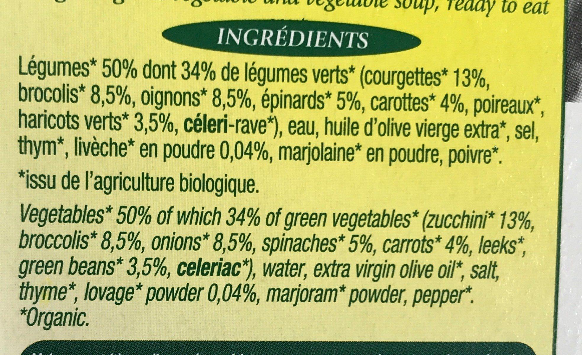 Mouliné d'antan aux legumes verts bio - Ingredients