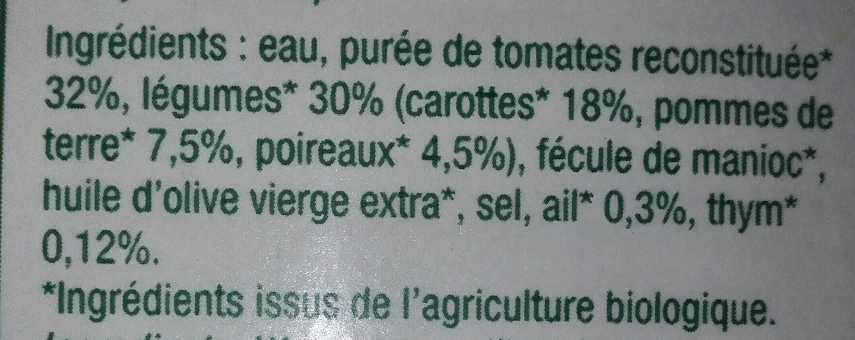 Velouté de tomates de Provence et légumes - Ingrédients - fr