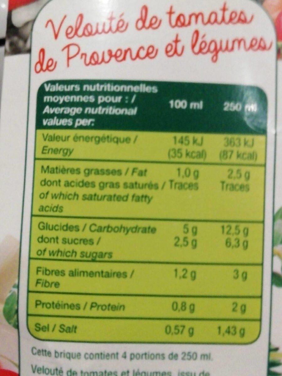 Velouté de tomates de Provence et légumes - Informations nutritionnelles - fr