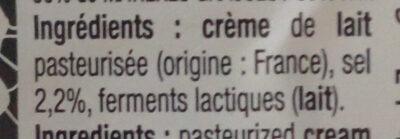 Beurre de Bretagne à la crème maturée demi-sel - Ingrédients