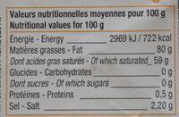 Beurre de Bretagne à la crème maturée demi-sel - Informations nutritionnelles - fr