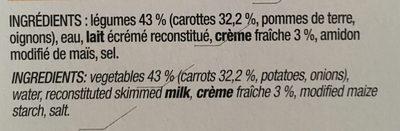 Velouté de Carottes & Crème Fraiche - Ingrédients