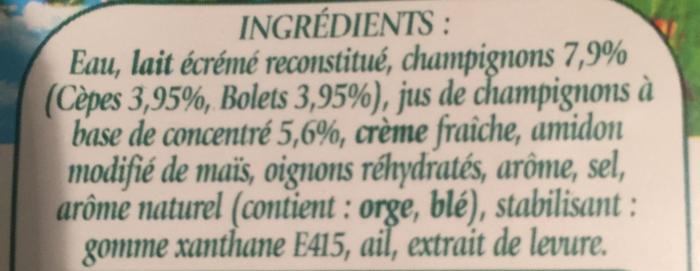 Velouté De Champignons - Ingredients