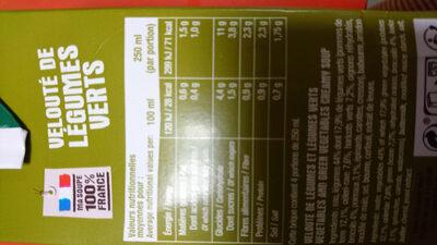 Velouté de légumes verts - Nutrition facts - fr