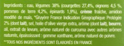 Velouté de courgettes, pommes de terre & gruyère - Ingrediënten - fr