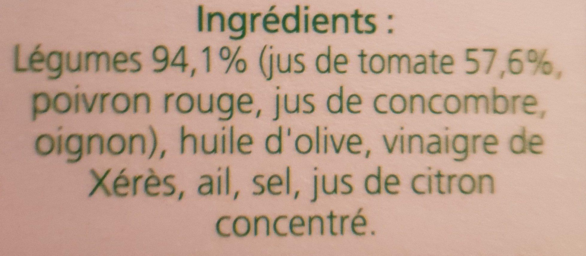 Gaspacho de Tomates - Ingrédients