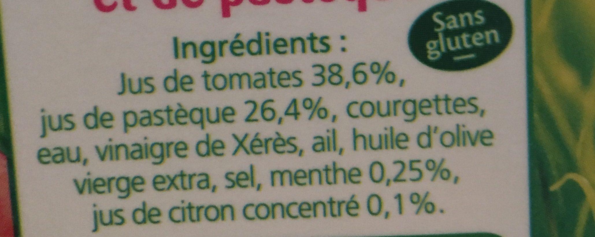 Gaspacho de tomates et pastèques LA POTAGERE, 1L - Ingrédients